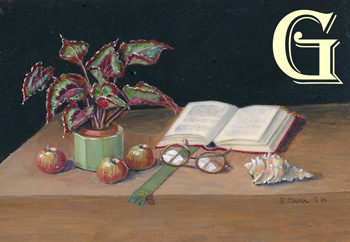 enid clarke, miniature painting, still life with book and spectacles