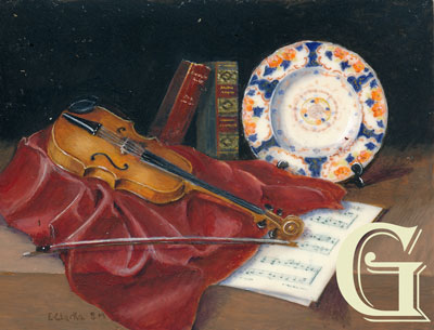 enid clarke, miniature painting, still life with violin